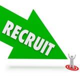 新兵箭头聘用求职者寻找最佳的雇员 向量例证