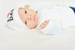 新出生与开放眼睛 免版税库存图片
