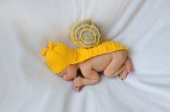 新出生在蜗牛衣服 免版税库存图片