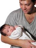 新出生女儿的父亲 库存图片