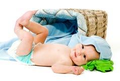 新出生查出的孩子 免版税库存照片