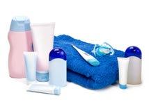 新出生的化妆用品 免版税库存照片