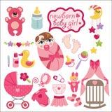 新出生的女婴的逗人喜爱的元素 免版税图库摄影