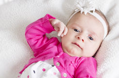 新出生的女婴纵向白色背景 库存照片