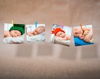 新出生的照片 免版税库存图片