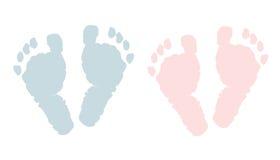 新出生的脚印 女婴和男孩结算 向量例证