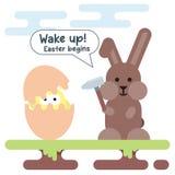 新出生的鸡和兔宝宝的平的例证与锤子 篮子看板卡五颜六色的复活节彩蛋草甸春天模板柳条 免版税库存图片
