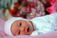 新出生的婴孩一个星期 免版税库存图片