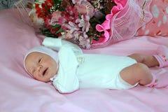 新出生的婴孩一个星期 免版税库存照片