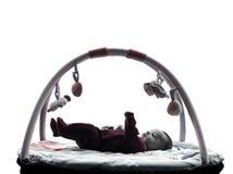 新出生的婴孩剪影 图库摄影