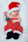 新出生的婴孩圣诞老人 免版税库存图片