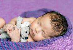 新出生的婴孩睡着在一条紫色毯子 免版税库存图片