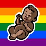 新出生矮小快乐婴孩微笑 免版税库存照片