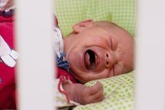 新出生婴孩哭泣 免版税库存照片