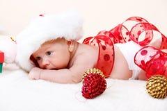 新出生婴孩的圣诞节 库存照片