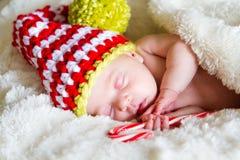 新出生婴孩的圣诞节 库存图片
