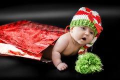 新出生婴孩的圣诞节 免版税图库摄影