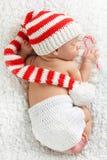 新出生婴孩的圣诞节 图库摄影