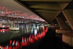 """新加坡†""""2017年12月10日:螺旋桥梁在Si的晚上 免版税库存照片"""