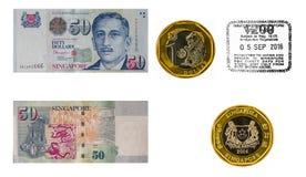 新加坡元和签证图章 免版税库存照片