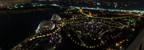 新加坡全景晚上视图。 库存照片