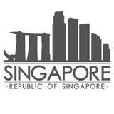 新加坡剪影设计城市传染媒介艺术 库存图片