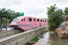 新加坡圣淘沙单轨铁路车火车,新加坡, 2017年12月28日 库存图片
