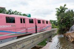 新加坡圣淘沙单轨铁路车火车,新加坡, 2017年12月28日 免版税图库摄影