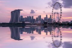 新加坡在商业区的市地平线 库存照片