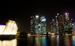 新加坡地平线在晚上在新加坡 免版税库存照片