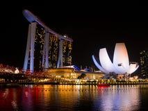 新加坡地平线在晚上在新加坡 库存图片