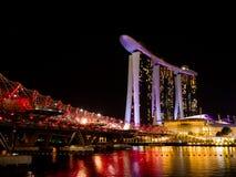 新加坡地平线在晚上在新加坡 免版税库存图片