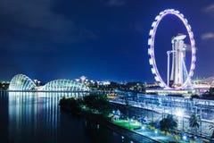 新加坡地平线在晚上 免版税库存图片