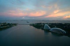 新加坡地平线美好的日落的 免版税图库摄影