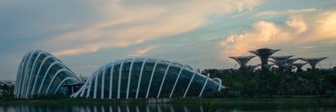 新加坡地平线美好的日落的 免版税库存图片