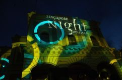 新加坡夜节日国家博物馆2014年在 免版税库存图片