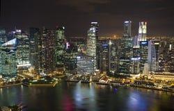 新加坡夜视图 库存照片