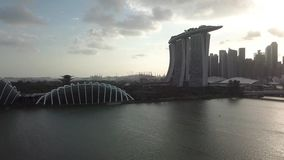 新加坡小游艇船坞海湾和圆顶鸟瞰图  影视素材