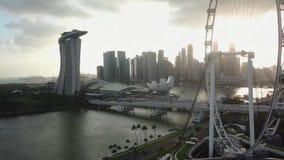 新加坡小游艇船坞海湾和过山车好久鸟瞰图  影视素材