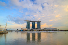 新加坡小游艇船坞海湾沙子和庭院激光展示由海湾 免版税图库摄影