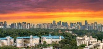 新加坡居住区有城市地平线视图 库存照片