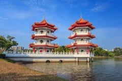 新加坡市中国庭院  免版税库存照片