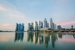 新加坡市商业区地平线视图  免版税库存照片