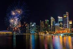 新加坡市地平线和美丽的烟花 免版税库存图片