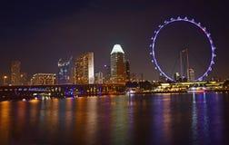 新加坡市夜视图有水反射和新加坡飞行物的 库存照片