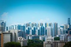 新加坡市摩天大楼地平线和看法汉德尔逊brid的 免版税库存照片