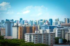 新加坡市摩天大楼地平线和看法汉德尔逊brid的 免版税库存图片