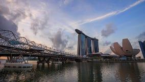 新加坡市都市风景看法定期流逝日出的 影视素材