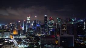 新加坡市都市风景视图定期流逝在晚上 影视素材