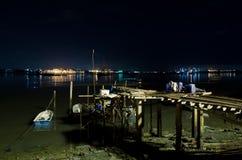 新加坡晚上视图从Johor的 库存图片